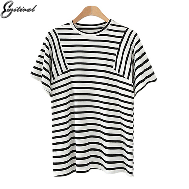 96869be6d Emitiral Summer Striped Line Point Women Tops Short Sleeves O Neck Casual  Tees Plus Size L