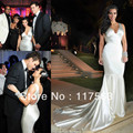 Kim Kardashian sexy mermaid sleeveless elastic satin zipper back long celebrity dress evening dress CD037