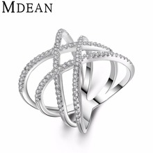 MDEAN White Gold Plated Rings for women Hollow Ring fashion Jewelry Bague women vintage Ring Zircon fashion Accessories MSR401