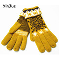 Autumn and winter women snow knitted gloves factory wholesale Korean warm wool line double thick gloves Ms.