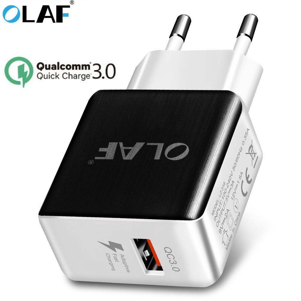 OLAF 5V 3A Quick Charge 3.0 USB Phone Charger EU Plug Fast Travel Wall Adapter for iphone X Samsung S8 S9 Xiaomi Huawei Charger