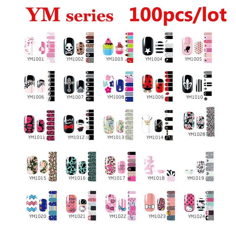 100pcs Self Adhesive Nail Art Sticker Wraps Stylish Nail Patch Foils ...