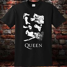 Black T-Shirt Queen Rock Band Bohemian Rhapsody Freddie Mercury Mens S to 3XL Short Sleeve O-Neck Cotton T shirt