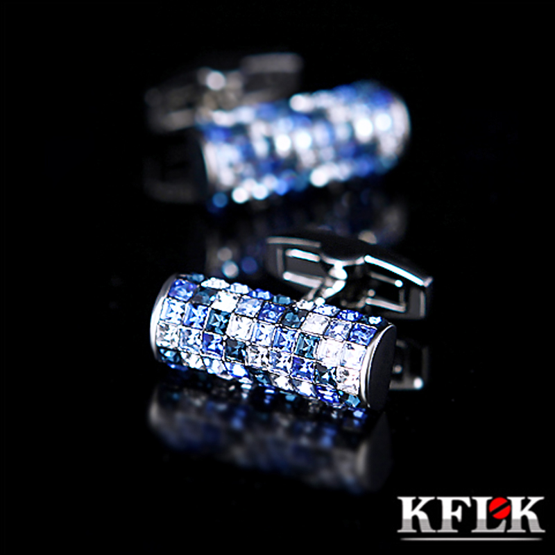 KFLK Jewelry shirt cufflink for mens Brand Blue and White Crystal Cuff link Luxury Wedding Button