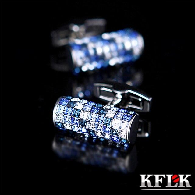 KFLK biżuteria koszula spinka do mankietu dla mężczyzn marka niebieski i biały kryształ spinki do mankietów luksusowy guzik ślubny wysokiej jakości goście