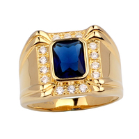 Gold Color Solid Sterling 925 Silver Ring Mens 4 claw Oblong Cubic Zirconia MAN GFS R128 Size 10 11 12 13