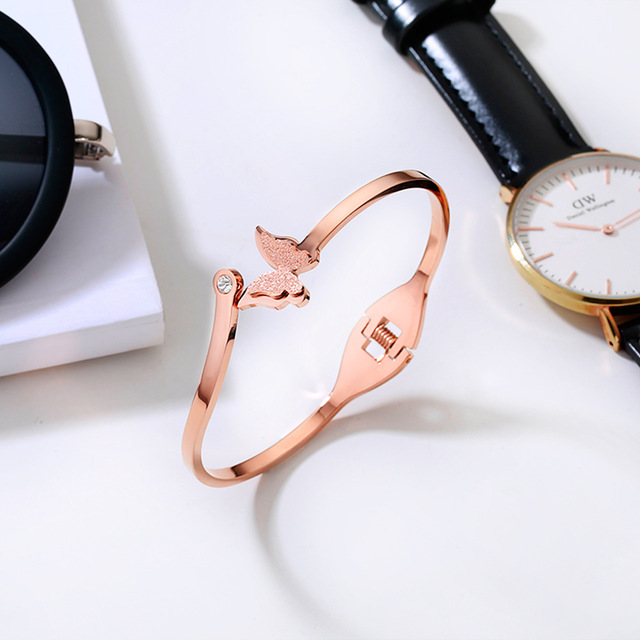 Womens Top Brand Jewelry Rose Gold Butterfly Bangle Bracelet 316L Stainless Steel Fashion Woman Man Gift Not Fade