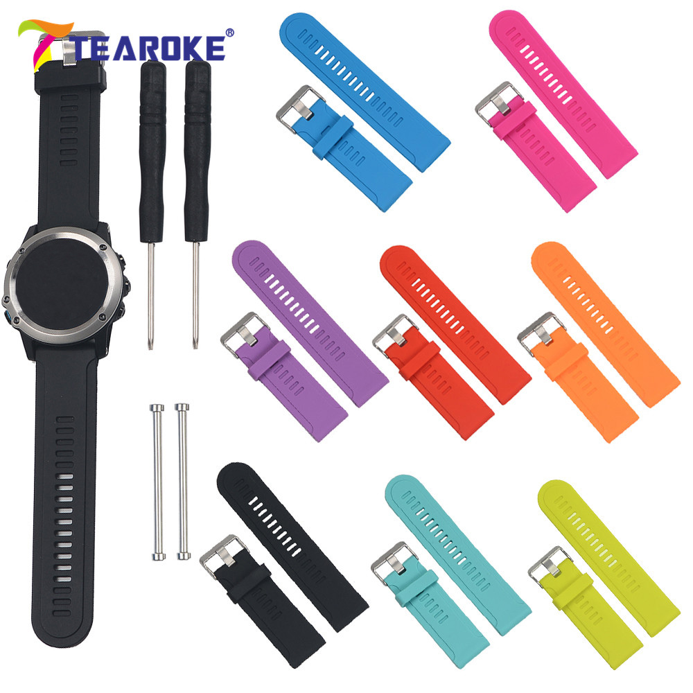 TEAROKE 8 Colors Silicone Soft Watchband for Garmin Fenix 3 + Tools Watch Band Strap Replacement Bracelet for Garmin Fenix3 HR canvas nylon watchband tool for garmin fenix 5 forerunner 935 fr935 leather watch band sports strap steel buckle bracelet