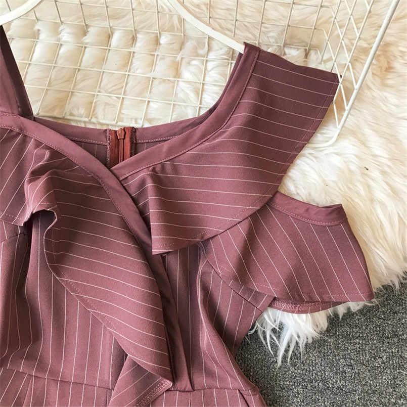Fashion 2019 Ruffles Striped Print Off Shoulder Asymmetrical Short Jumpsuit Casual Sexy Women Overalls Summer Irregular Romper