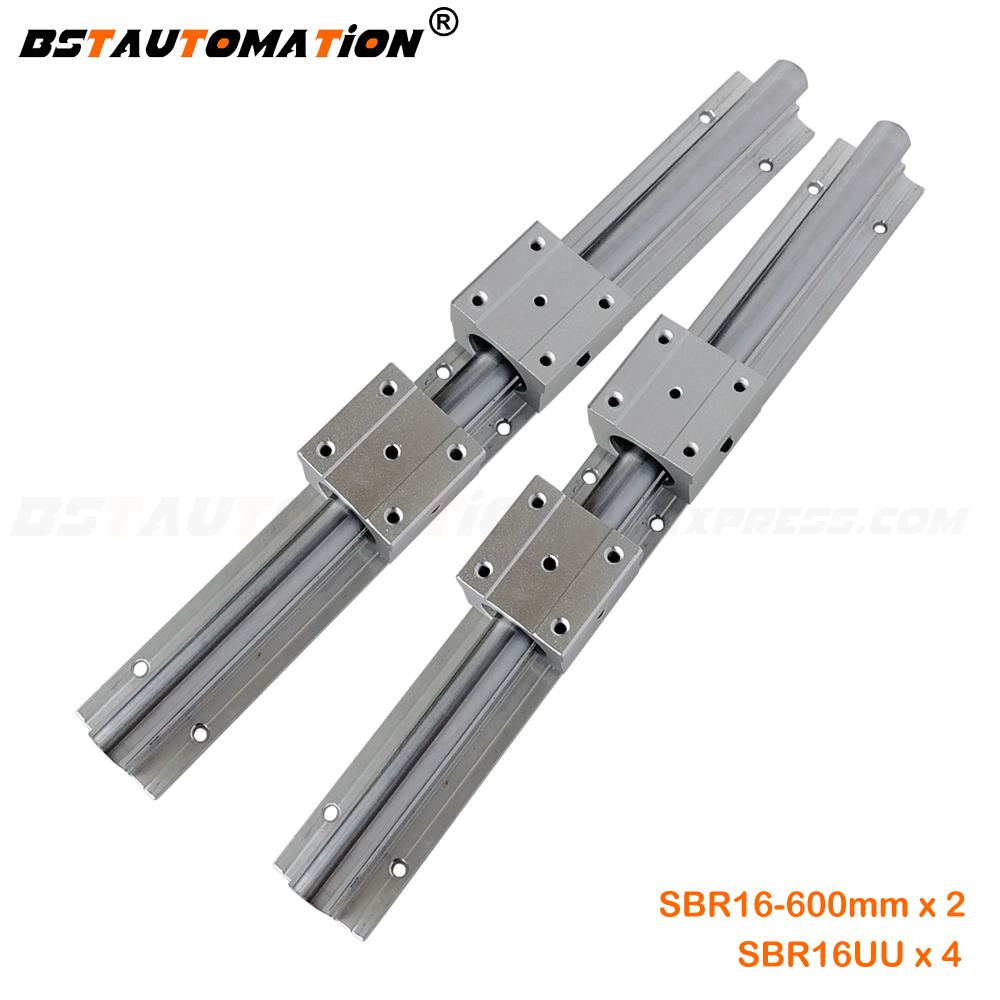 SBR16-1000mm 2 x Linear Rail 4 x Bearing Blocks Stable Aluminum Alloy CNC Router