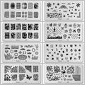 12 Pcs Flowrs frutas animais pato borboleta aço Stamping Nail Art Konad placas Template Manicure selo ferramentas unhas JH114