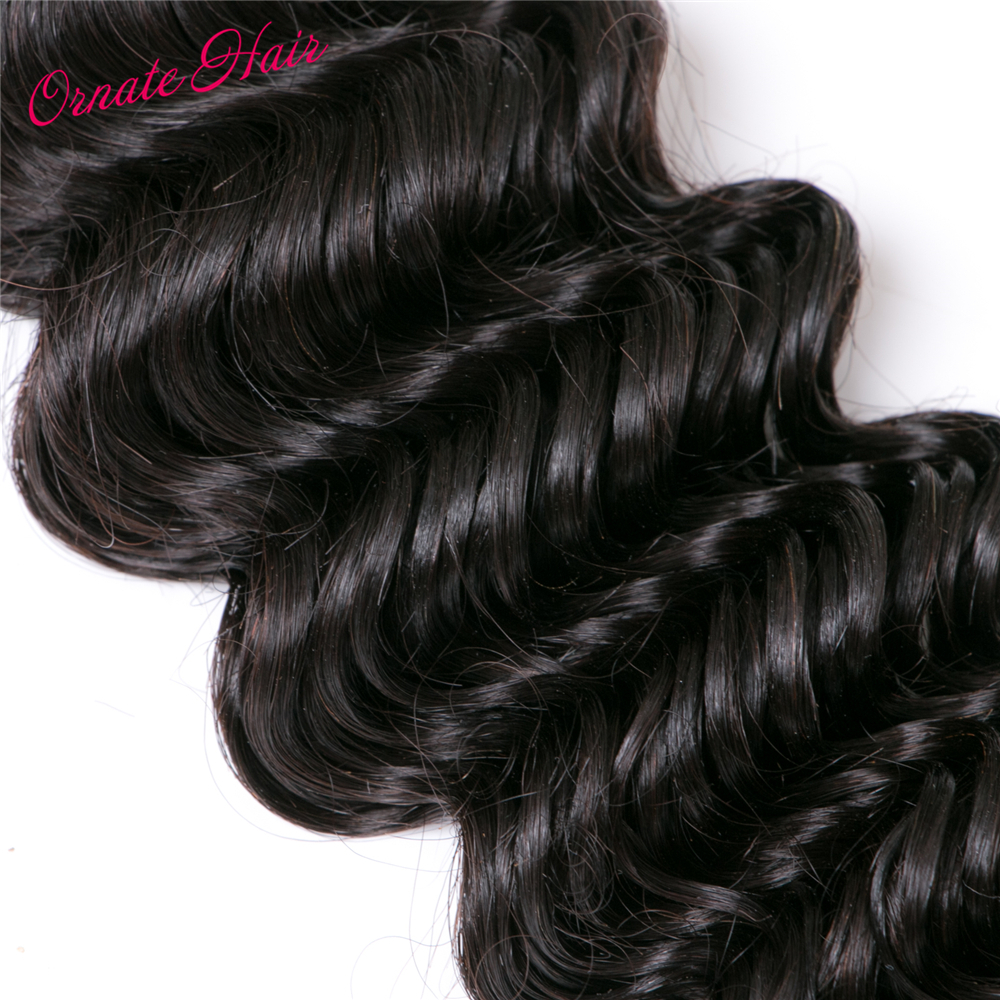 Ornate Brazilian Deep Wave Bundles With Closure 4 Bundles 12-24 Inch Weaves Human Hair With Closures Free Part Non Remy