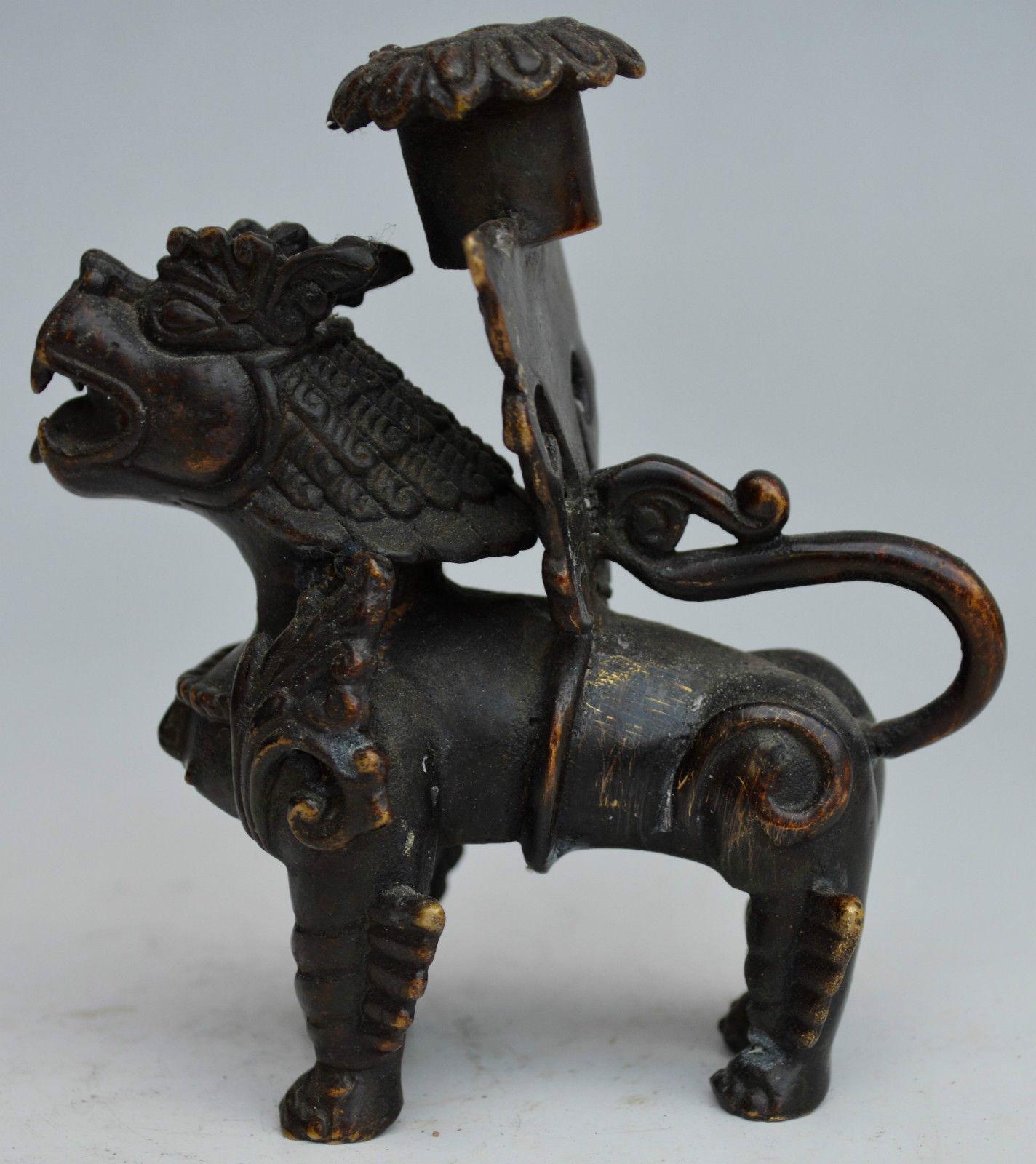 Bâton de bougie de bête Dragon sculpté en cuivre décoré à collectionner