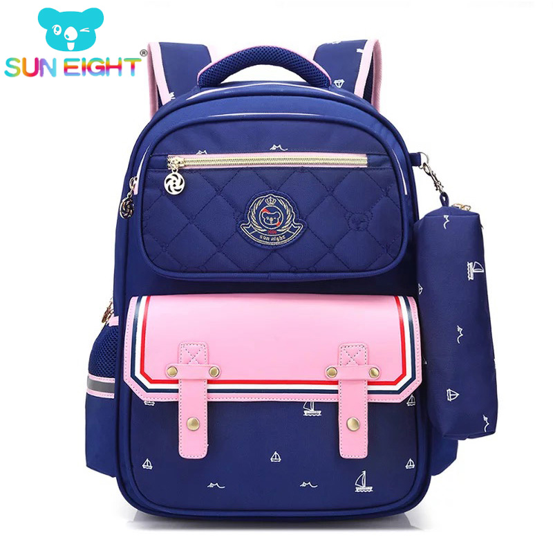SUN EIGHT Orthopedic Fashion Children School Backpack School bags For Boys/girl Waterproof Backpack Kids School bag