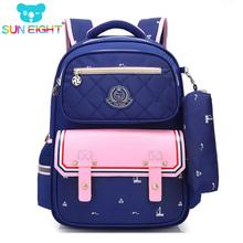 SUN EIGHT ortopedyczne Fashion Kids School plecak szkolny torby dla chłopców dziewczynek wodoodporny plecak dla dzieci Torba szkolna tanie tanio School Bags Zamek Nylon Dziewczyny 16 cm 2564 Patchwork 31cm od 0 95 kg 42cm Poliester