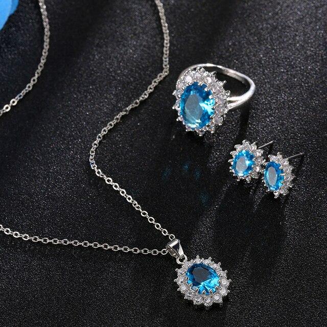 Conjuntos de joyas para novias, juego de collar de Color plateado con piedra de cristal azul a la moda, conjuntos de joyería africana 4