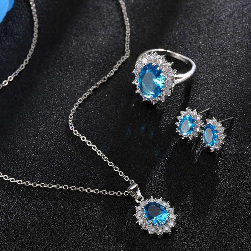 ファッションブルークリスタル石のウェディングジュエリーセットシルバーネックレスセット女性のためのアフリカジュエリーセット & より