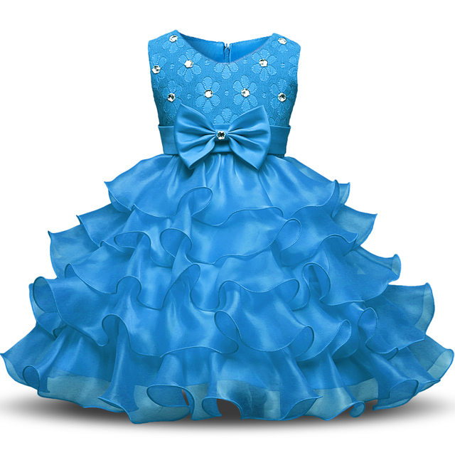 Aini Babe Baby Girls First Birthday Communion Dresses Kids Party Ball Gown Princess Bridesmaid Children Tutu Dress Girl 0-8 Year