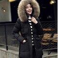 2017New revestimentos do inverno das mulheres 4 cores de algodão com capuz casacos de inverno feminino casual longa seção gola de pele quente revestimento das mulheres
