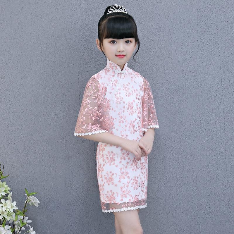 c7cfd4250 2018 Summer Autumn New Chinese Traditional Wind Children Girls Cheongsam  Birthday Party Dress Teens Baby Piano Costume Dress