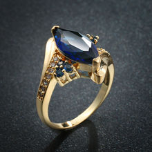 Fashion Marquise Cut Blue Zircon Yellow Gold Color Women Wedding Engagement Ring Jewelry