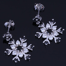 Fabulous Snowflake Black Cubic Zirconia White CZ 925 Sterling Silver Drop Dangle Earrings For Women V1024