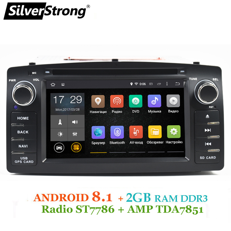 SilverStrong 2 gb RAM Android8.1 Universel Voiture DVD COROLLA E120 GPS Pour TOYOTA corolla ex radio Navigation android TPMS