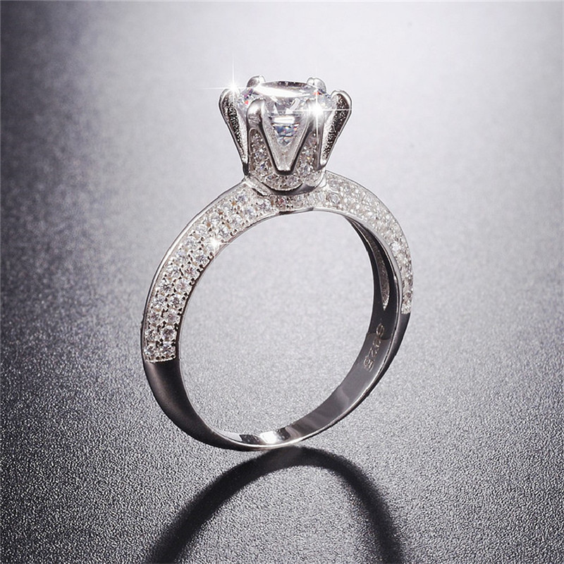 Classic Luxury Real Solid 925 Sterling Silver Ring 2Ct 10 Hearts Arrows SONA Diamond Wedding Jewelry Rings Engagement For WomenClassic Luxury Real Solid 925 Sterling Silver Ring 2Ct 10 Hearts Arrows SONA Diamond Wedding Jewelry Rings Engagement For Women