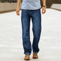 LEDINGSEN 2018 Mens Casual Oversized Blue Jeans Regular Fit Thin Straight Jeans Denim Pants Classic Men's Clothing Plus Size 48