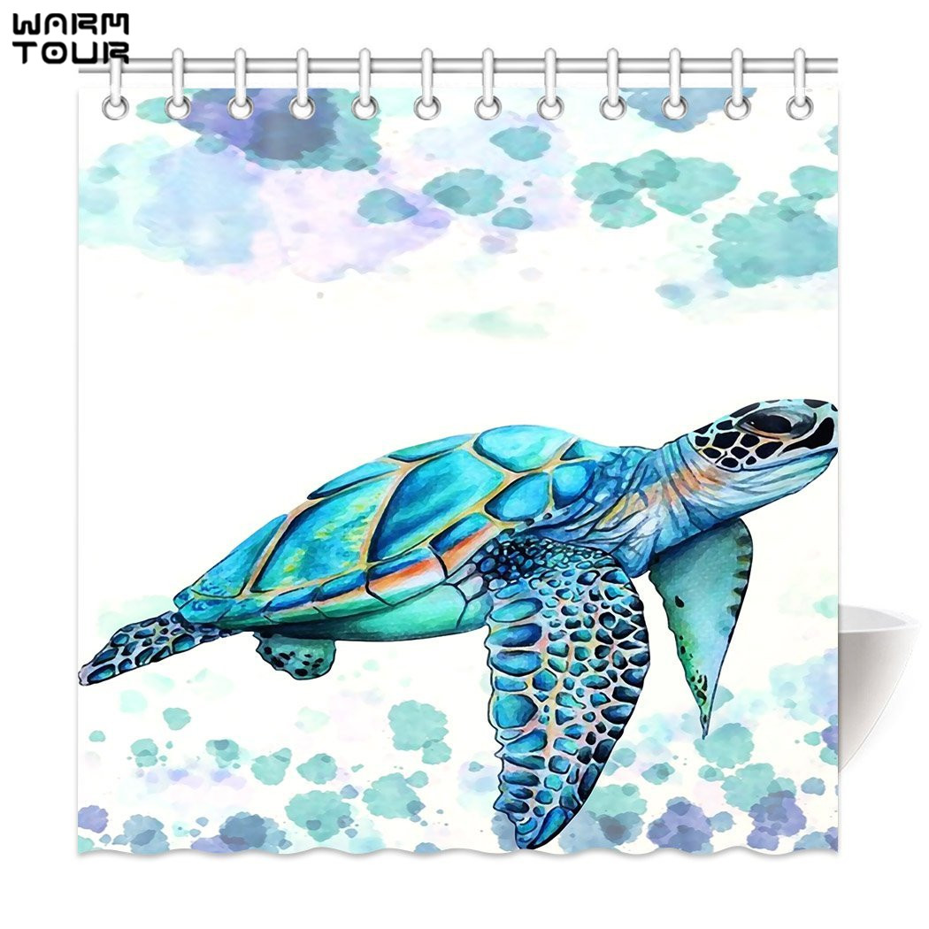 Warm Tour Sea Turtle Decor Shower Curtain Fabric Polyester
