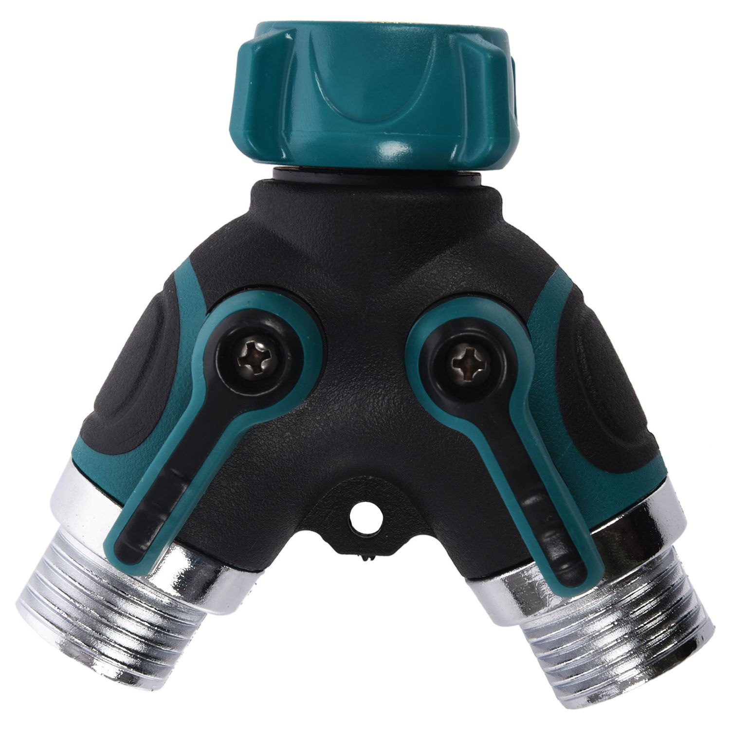 Garden Hose Splitter 2-way Y Shape Valve Hose To Hose Connector With 2 Shut Off Switch Metal ABS For Faucet Taps Pipe