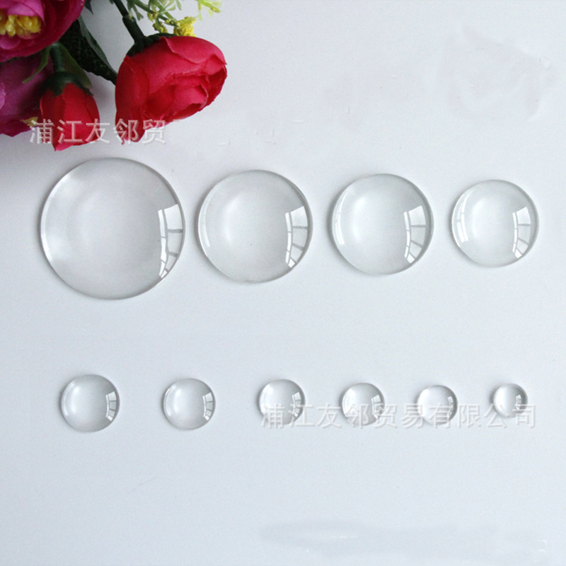 Mibrow 1 Pack Transparent Clear Round Flat Back Glass Cabochon 10mm 12mm 20mm 25mm Crystal Cabochon Cameo For DIY Jewelry Making in Jewelry Findings Components from Jewelry Accessories