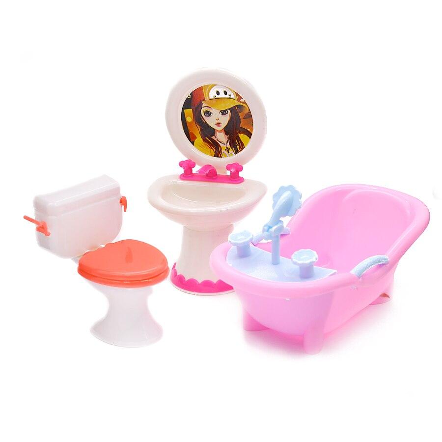 Doll Furniture Toy Toilet Bathtub Washbasin Bathing Bowl Bath Sink Wash Basin Bathroom Dolls Accessories For Girls Kids Gifts