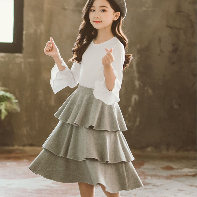Cotton School Big Girl Clothing Sets 2020 Autumn Spring Suit Teen Little Girl Skirts Set Outfit Children T Shirts And Long Skirt