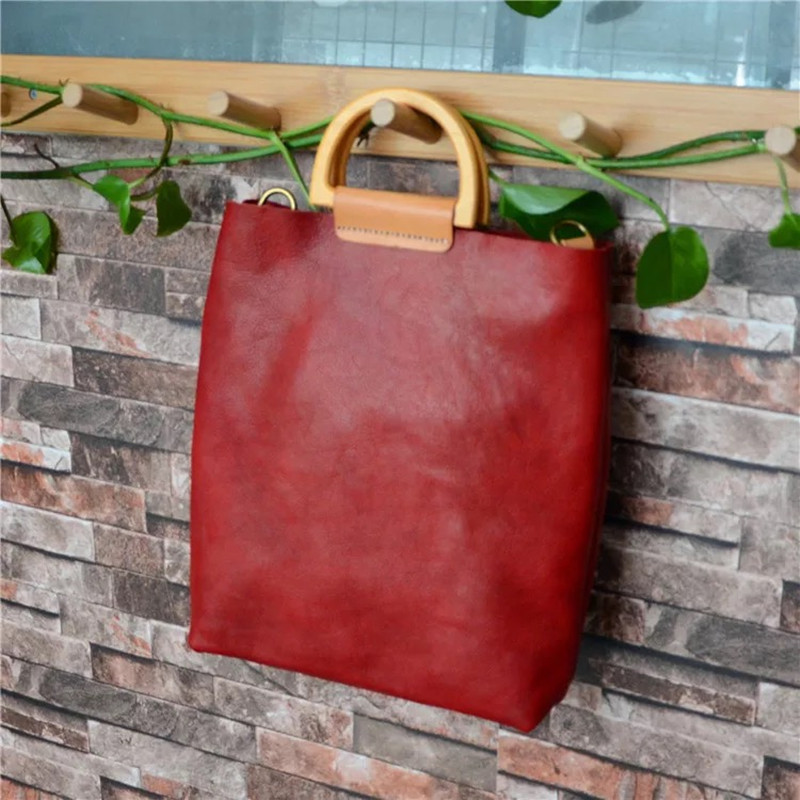Natural Real Cow Leather Lady Vintage Soft Purse Wooden Handle Female Handbag Woman Single Cross Shoulder Bag Composite Package