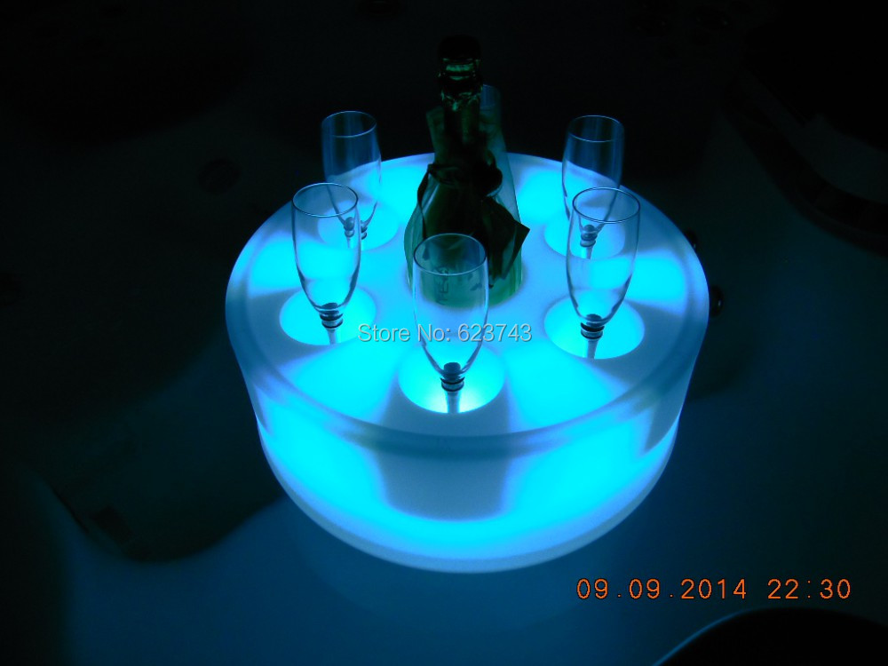 16Colors Waterproof Round illuminated LED floating Champagne Holder Ice Bucket Rechargeable,Glowing Coaster Led flytande poolbar color changeable led drink illuminated sphere flower pot waterproof led light ellipse champagne bucket cooler planter