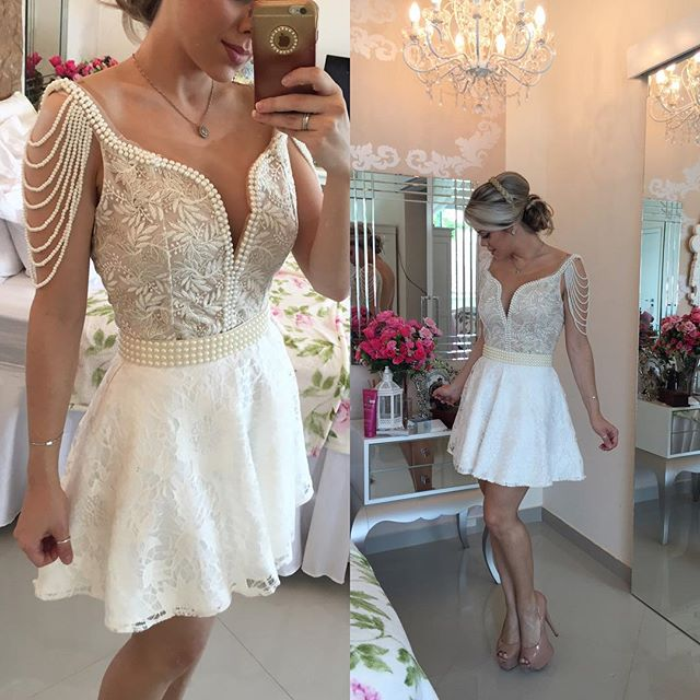 Ivory 2019 Elegant Cocktail Dresses A line V neck Short Mini Embroidery Pearls Party Plus Size Homecoming Dresses-in Cocktail Dresses from Weddings & Events    1