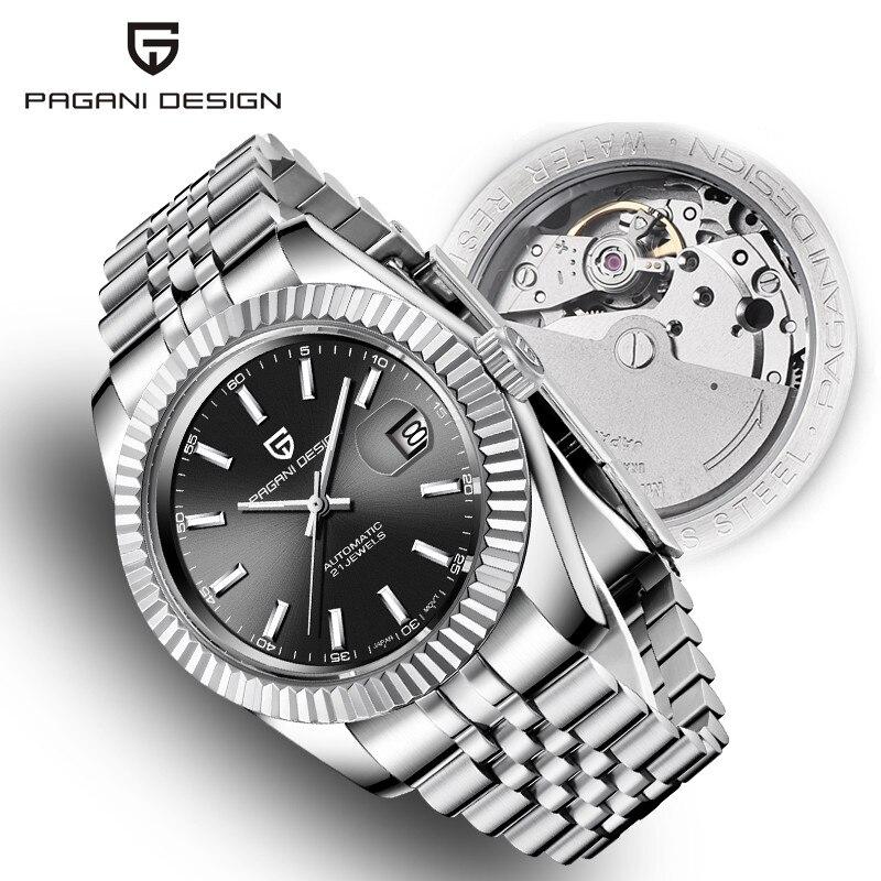 Relógios masculinos 2019 novo topo de luxo marca pagani design moda automática relógio de aço mecânico masculino militar esporte relógio de pulso + caixa