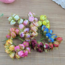 6 PCS /lote 1.5cm Mini Subiu Buque DE Flores DE Seda Artificial Decoracao DE Casamento Flor Para Scrapbooking DIY Flor Bola