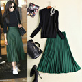 2017 winter and sping women' paragraph long-sleeved black knit sweater + green pleated skirt suit female sets