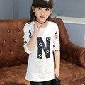 Adolescentes bebé ropa vestido de letras impresas camiseta de los niños para los niños con primavera otoño camisetas de manga larga blanco negro