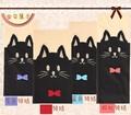 4 unids/lote negro Tattoo Cat con pajarita 4 colores azul / rojo / azul / verde sexo panti medias Harajuku medias
