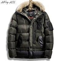 2017 ACE Endo Parka Homens Do Exército de Inverno da Pele Do Falso Com Capuz Jaqueta casaco de Multi-bolso ZA327 Grosso Mens Jaqueta Bomber Parka Tamanho DA UE 50