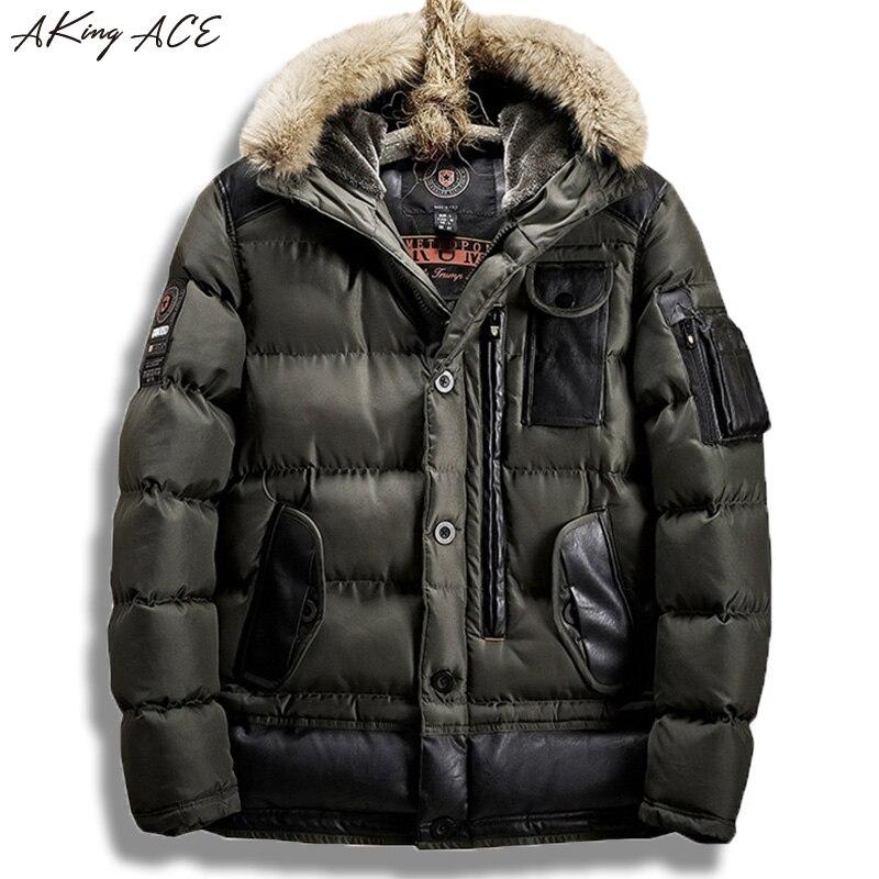 2017 AKing ACE Winter Parka Men Army Faux Fur Hooded Jacket Coat Multi-pocket Thick Mens Bomber Jacket Parka EU Size ZA327 50 vogue anmi brand coat winter jacket men fur hooded army warm men parka thick