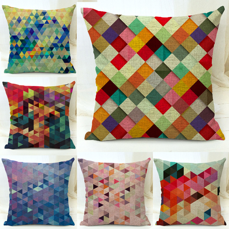 Aliexpress.com : Buy Cotton Blend Linen Decorative Throw Pillow Covers Colorful Geometric ...