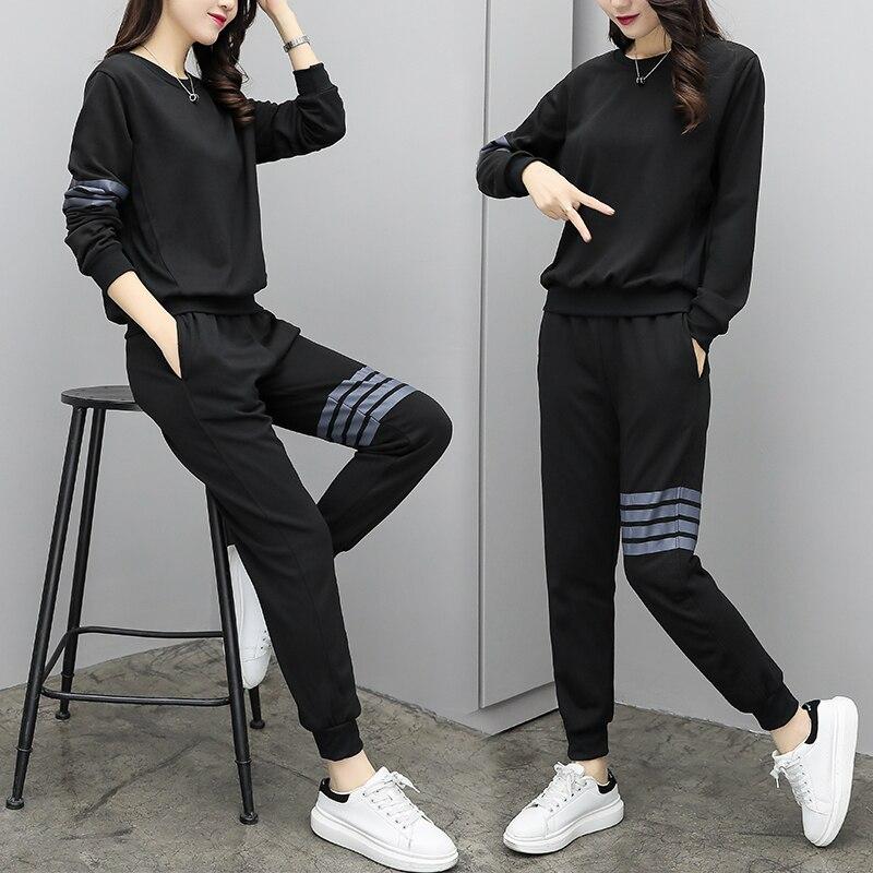 Ensembles Survêtement Femmes 2018 Deux Sport Costume pièces Ensemble Lâche Tops Mode Casual Pantalons Vêtements Longs Femme Black wqrxUnYqZ