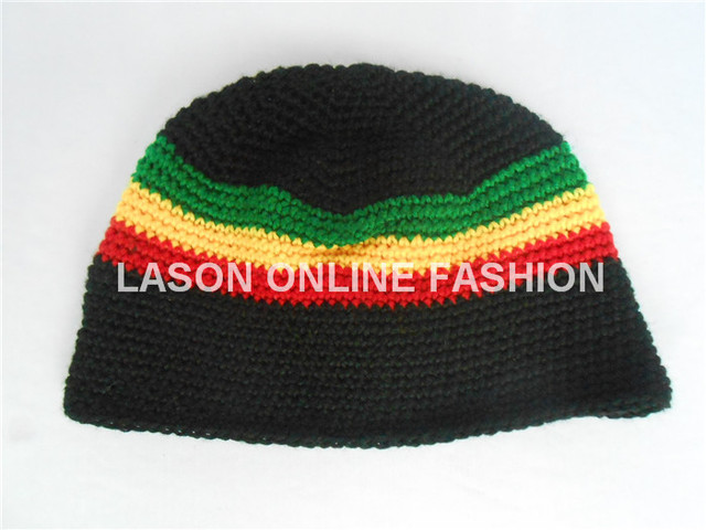 6e666a67d5f 5pcs lot Rasta Jamaican Striped Skull Cap Winter Hat (One Size) Bob ...
