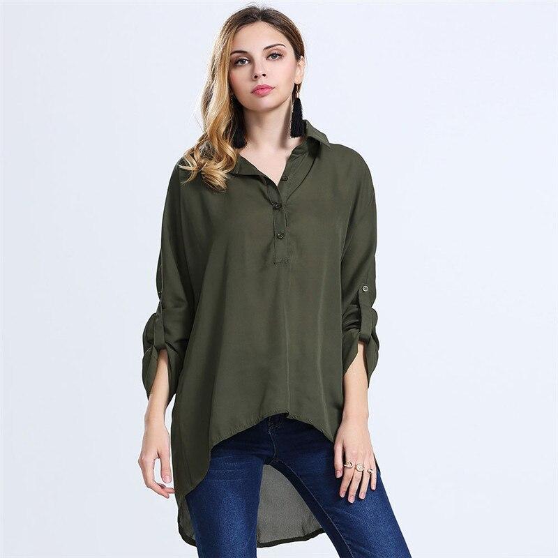 Gasa de las mujeres más el tamaño mujeres clothing camisa de manga tres cuartos