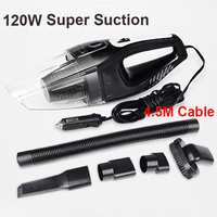 Auto Accessories Portable 5M 120W 12V Car Vacuum Cleaner Handheld Mini Super Suction Wet And Dry