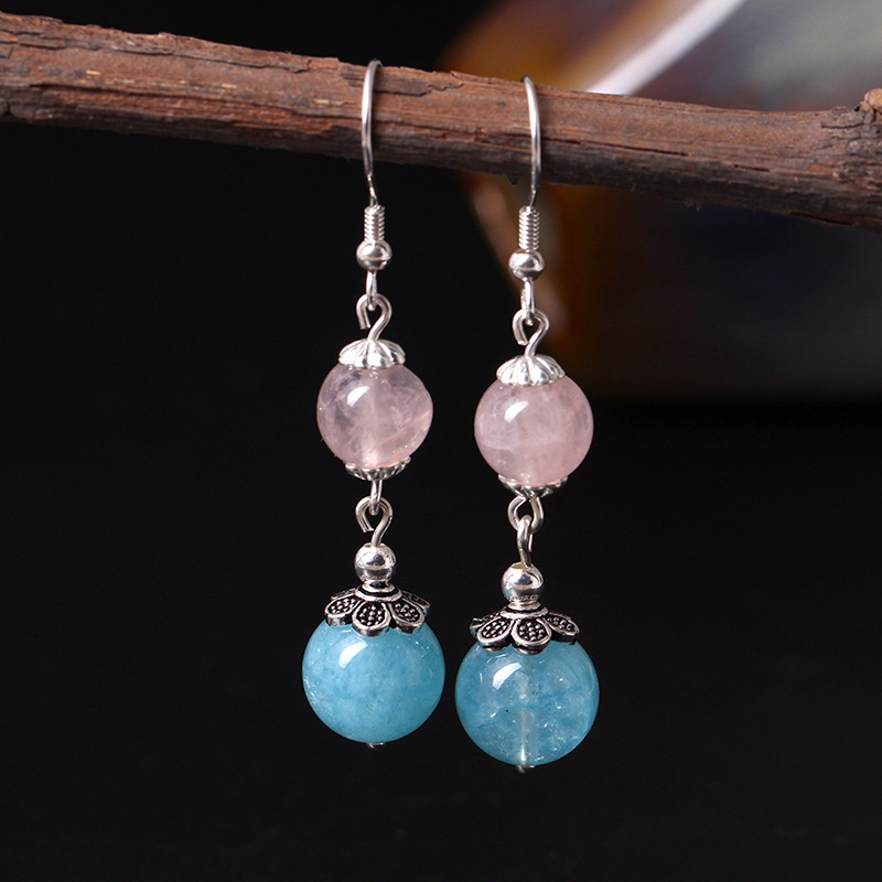 S925 Silver And Natural St2018 Earrings Ethical Wind Sea Sapphire Eardrop Female Sterling Silver Jewelry Wholesale